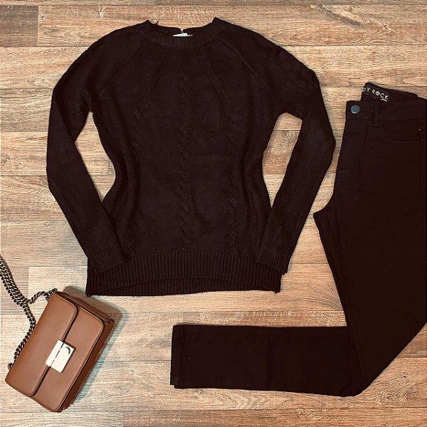 Blusa Tricot Modal  com Textura Fashion Sarah Black