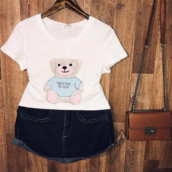 T-shirt Top Ursinho Fofo Branco