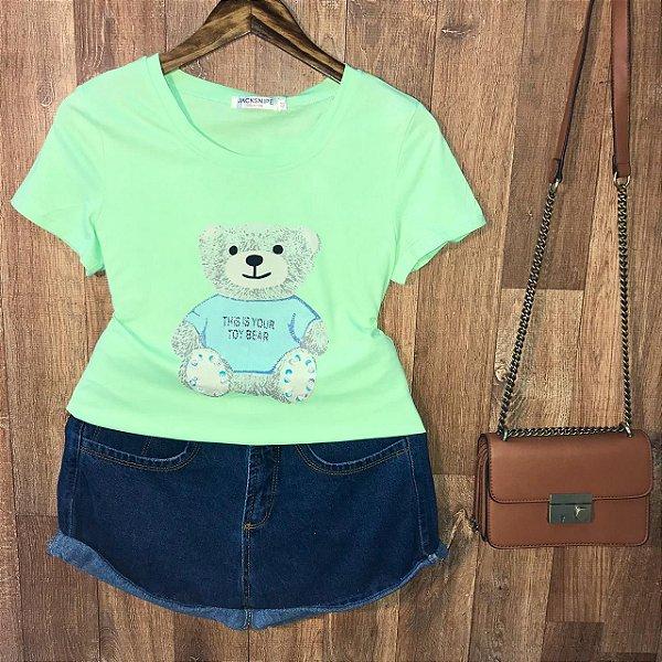 T-shirt Top Ursinho Fofo Verde Claro