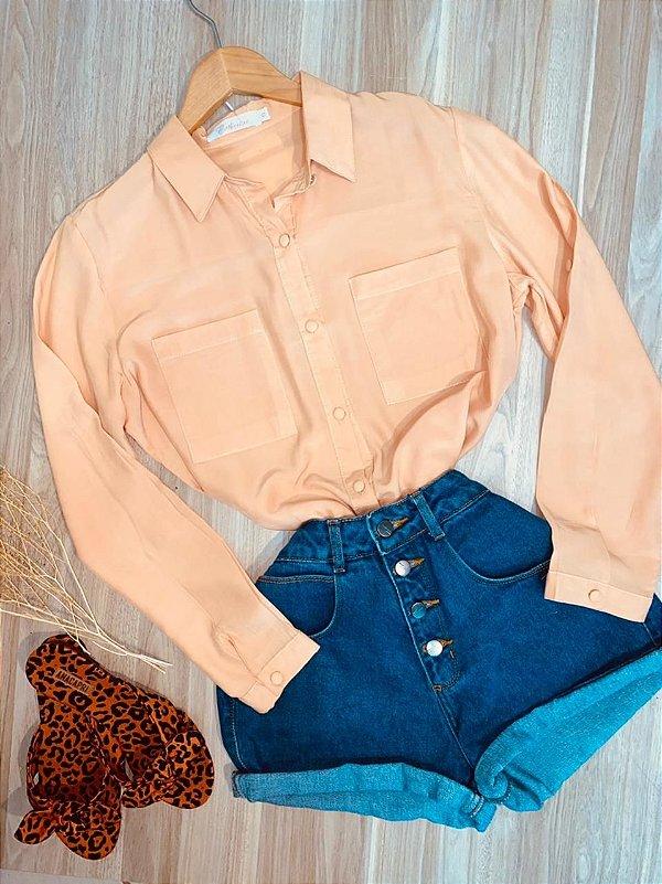 Camisa Lisa com Botões encapados Sarah Salmão