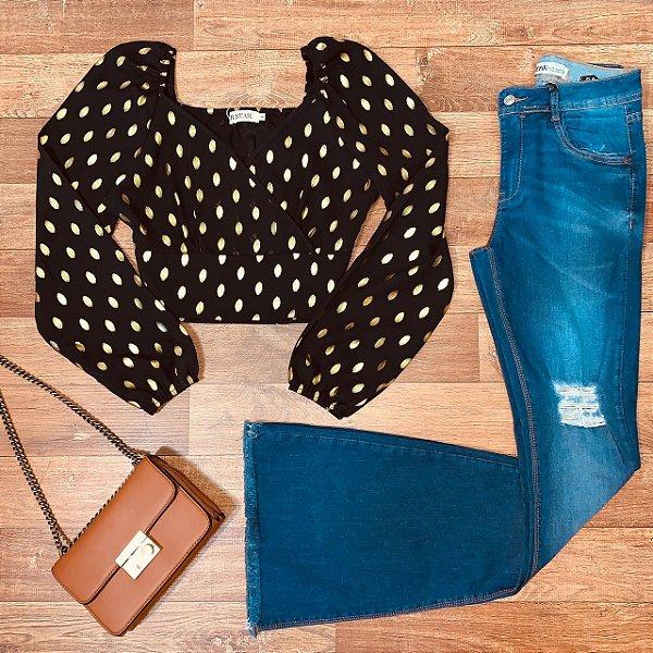 Calça Jeans Dardak Flare 1919 Macapa Azul Escuro