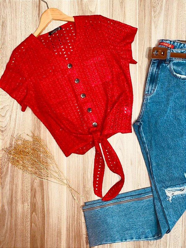 Blusa Laise com Botões e Bolso de Amarrar Mariah Vermelha