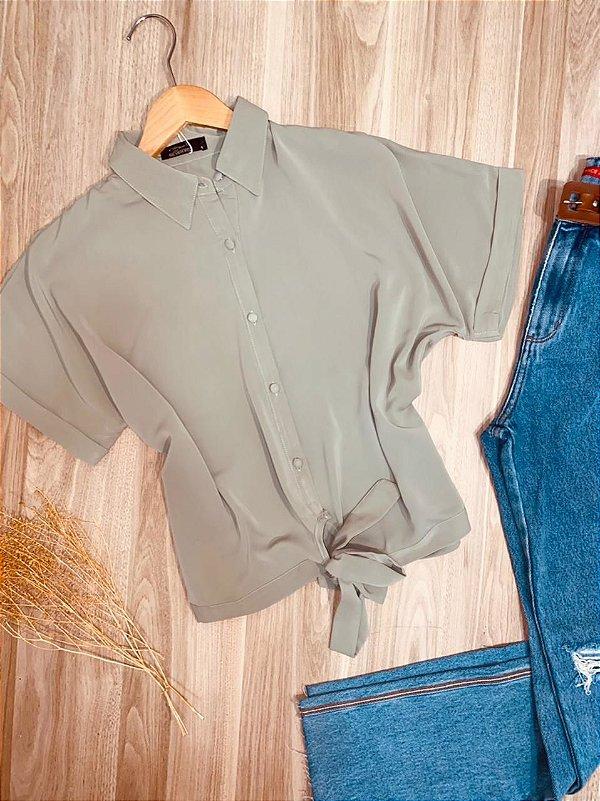 Camisa com Botões Encapados de Amarrar Mariah Verde Claro