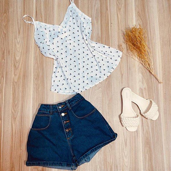 Blusa de Alcinha Luana Flamingos White