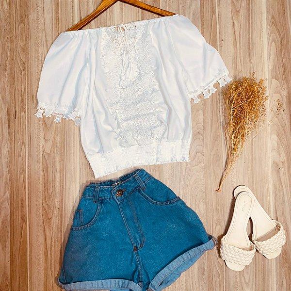 Blusa Ciganinha Top com Guipir Luana Branco