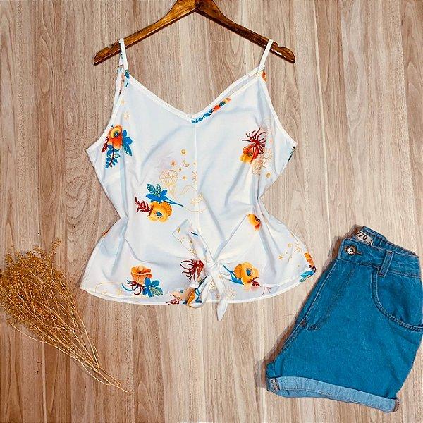 Blusa de Alcinha com Laço de Amarrar Floral Azul Branco