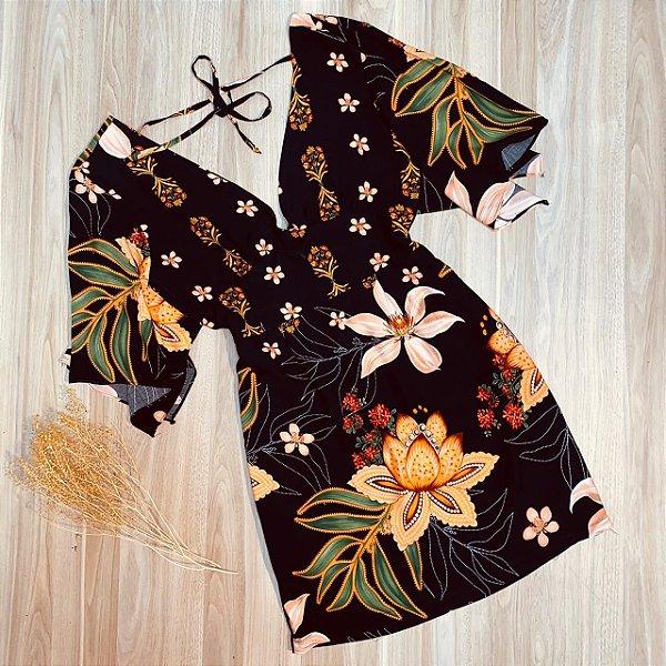 Vestido Curto Decote V com Lacinho de Amarrar Rebeca Preto