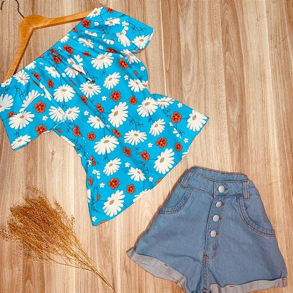 Blusa Ciganinha Dupla Manga Ana Flower Azul Claro