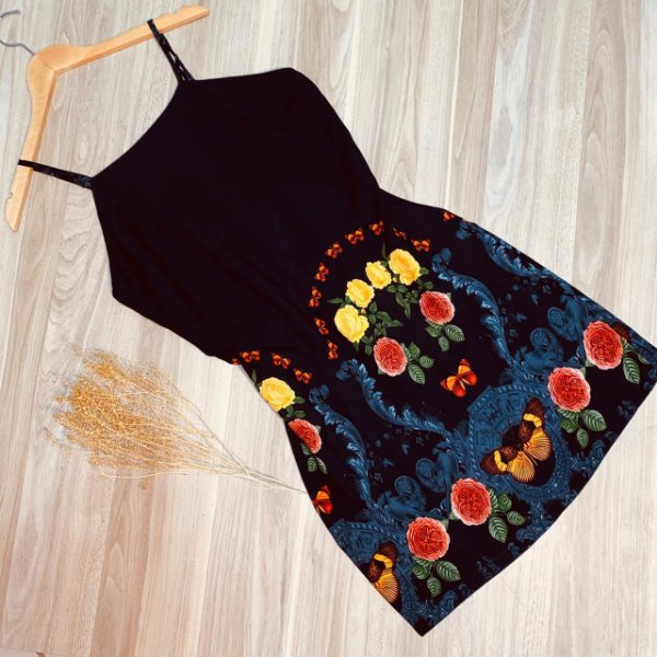 Vestido Alcinha Curto Monalisa Borboletas Floral Black