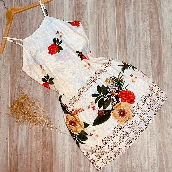 Vestido Alcinha Curto Monalisa Florido Off White
