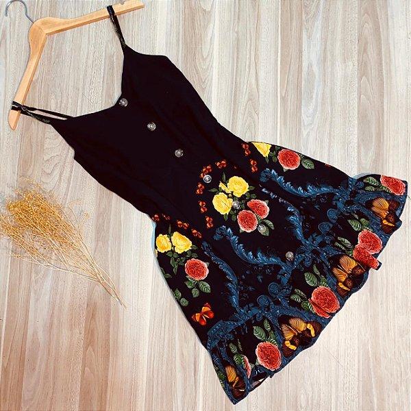 Vestido Alcinha Botões Monalisa Flower Black