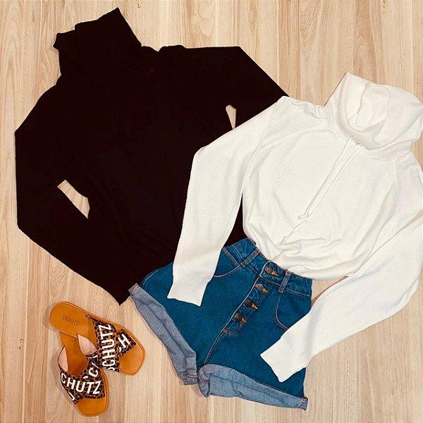 Blusa Tricot Modal com Capuz Fashion