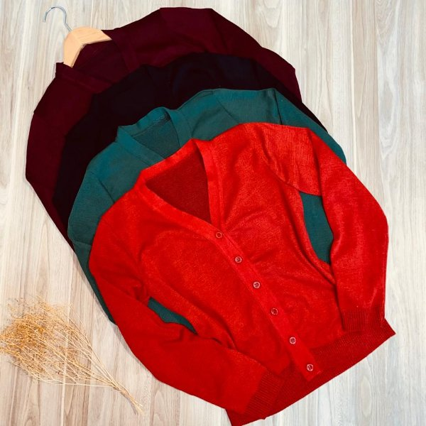 Blusa Cardigan Tricot com Botões Diversas Cores