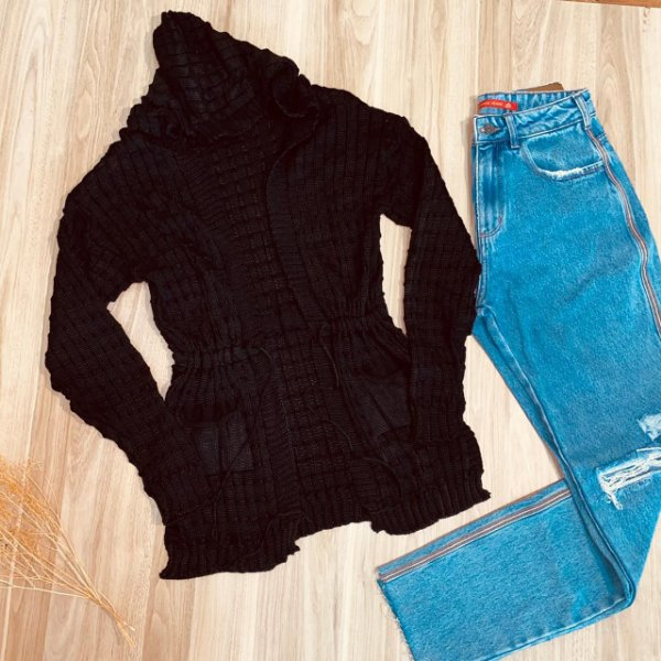 Blusa Maxi Cardigan Tricot Fashion Black