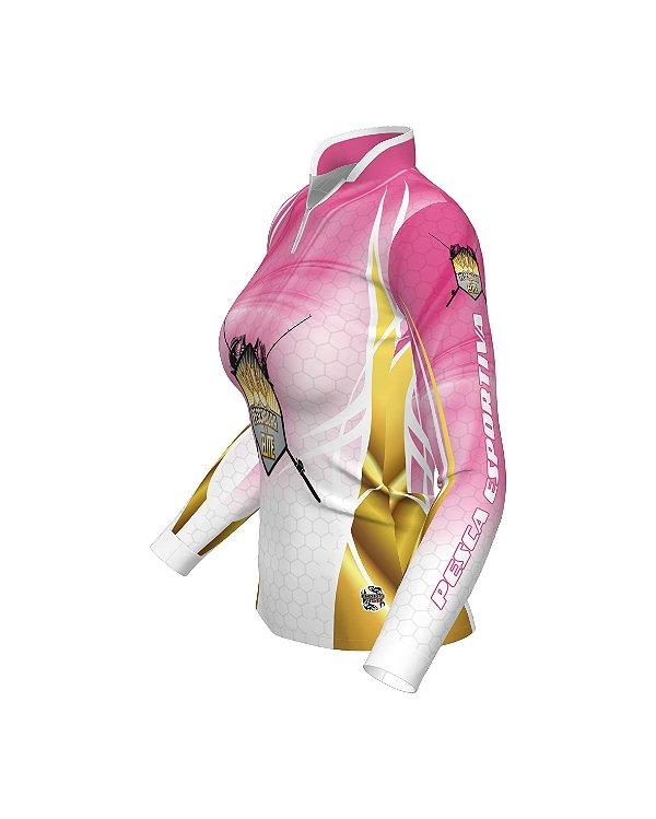 Camisa OFICIAL Pescadora de Elite - Proteção UV e Antibacteriana | Rosa