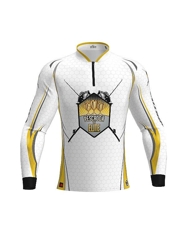 Camisa OFICIAL Pescador de Elite - Proteção UV e Antibacteriana | Branca