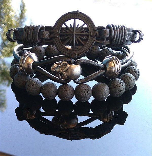 Combo Pulseiras couro, Pedra Vulcânica, Caveira e Bússola em metal