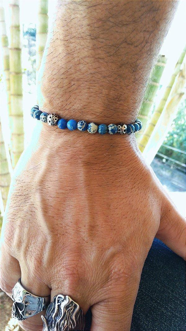 Pulseira Pedra Jade Imperial Azul