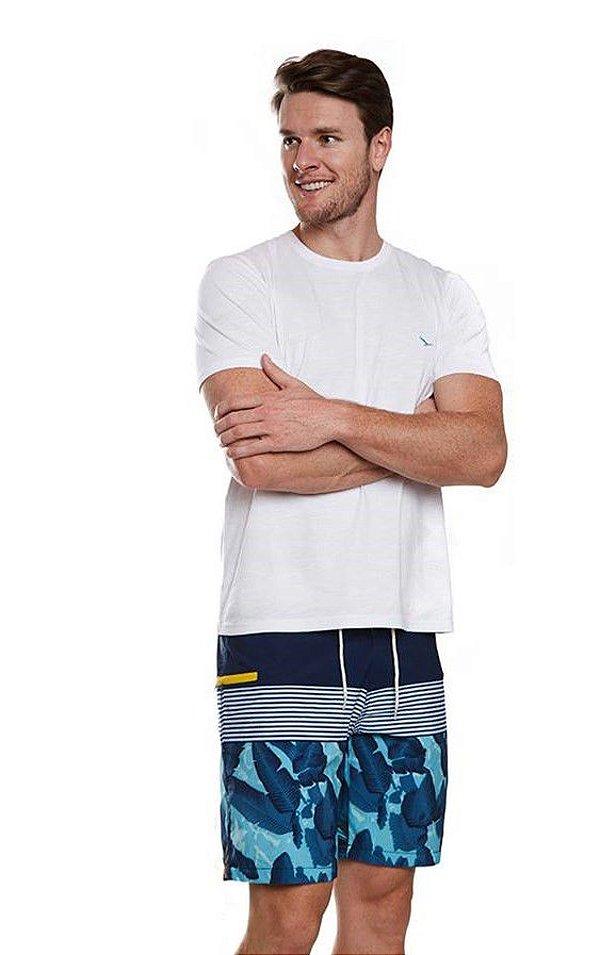 Boardshort Estampado Azul/Amarelo