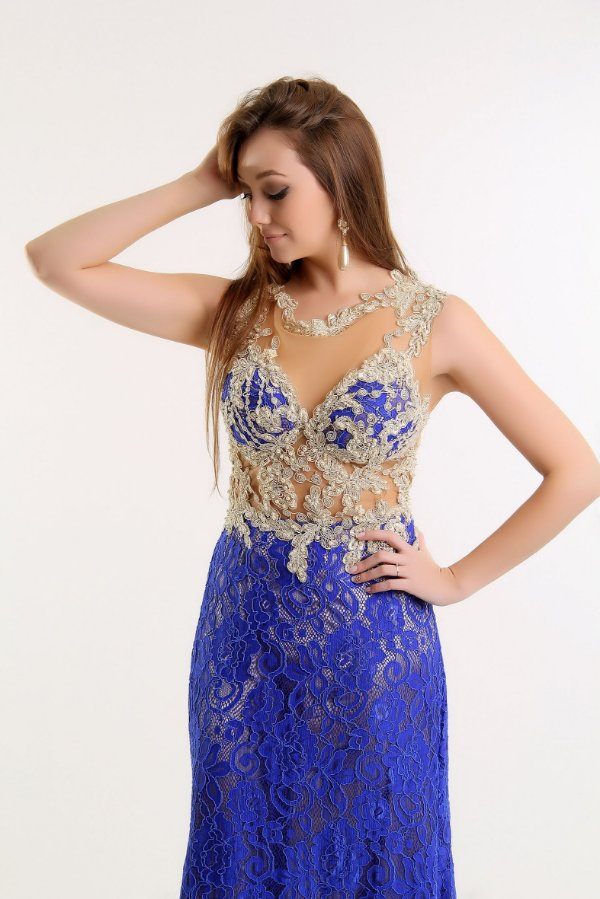 Vestido Longo Sereia Renda Nude E Azul Royal Dress Up
