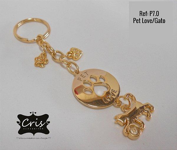 Chaveiro Dourado LOVE PET ♥ P7 ♥