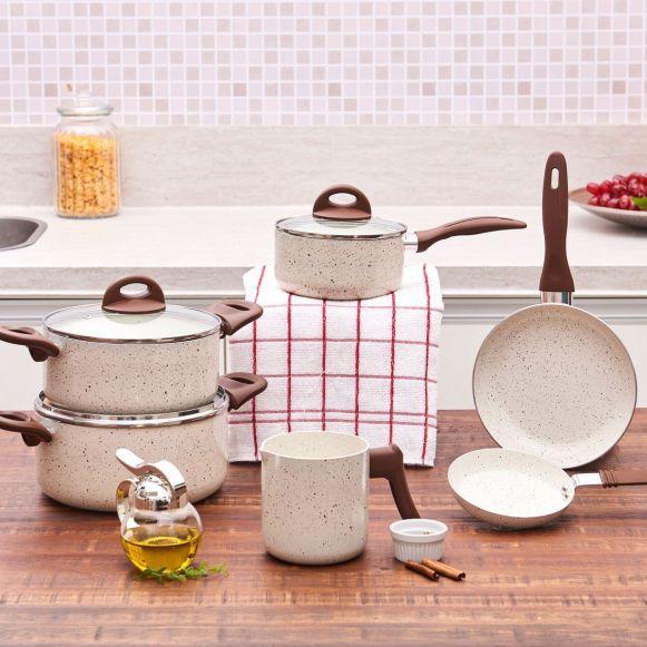 Conjunto De Panelas Ceramic Smart 6 Peças Vanilla - Brinox