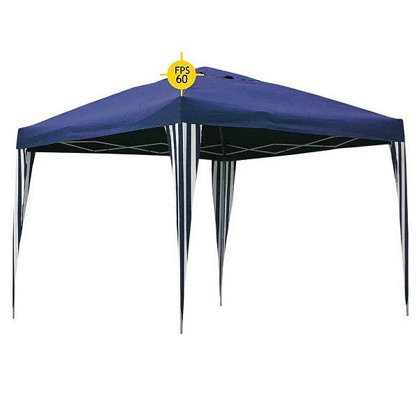 Tenda 3x3m Dobrável Sanfona Gazebo Alumínio Azul BelFix