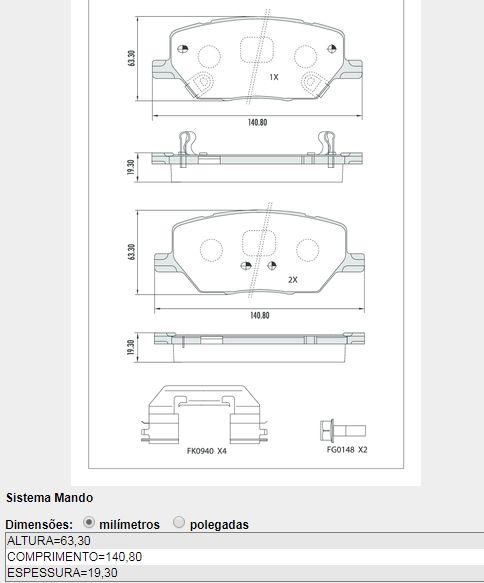 JOGO PASTILHA DIANT FIAT-JEEP FRAS-LE PD1512 TORO-COMPASS