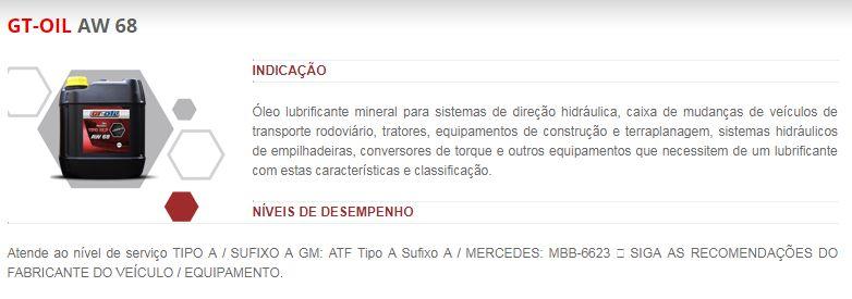 OLEO HIDRAULICO AW 68 BALDE 20L GT OIL AW68