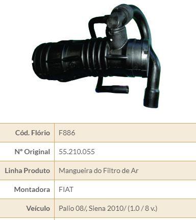 MANGUEIRA FILTRO AR FIAT FLORIO F866 UNO-ELBA-PREMIO-FIORINO