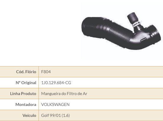 MANGUEIRA FILTRO AR VW FLORIO F804 FLORIO GOLF