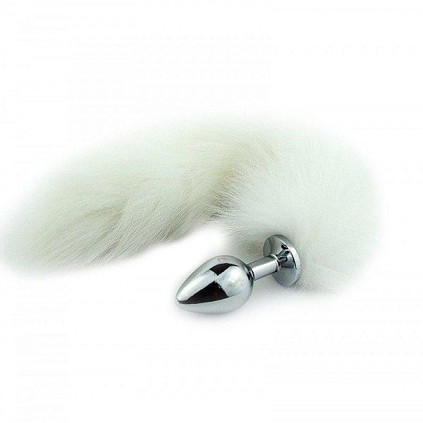 Plug Anal em Metal 7cm com Cauda Branca