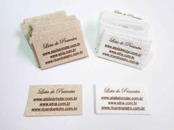Lista de presentes papel artesanal  ( 2,5 x 4,5 cm )