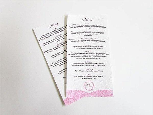 Menu impresso em papel artesanal, com monograma (12 x 24 cm)