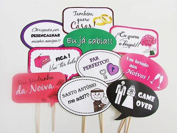 KIT Plaquinhas divertidas  - COLEÇÃO CASAMENTO -  com 10 placas.