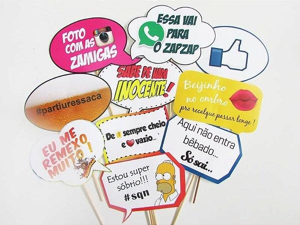 KIT Plaquinhas divertidas - COLEÇÃO ZOEIRA - com 10 placas.