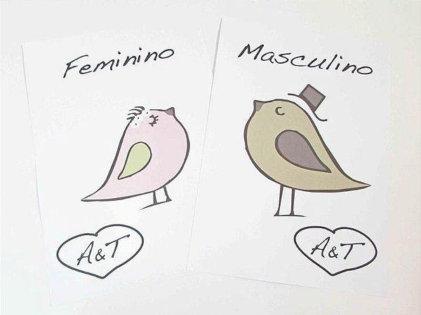 Placas para banheiro passarinhos personalizada com o monograma do casal ( o par )