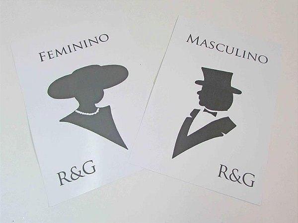 Placas banheiro  - dama e cavalheiro - personalizada com o monograma do casal ( o par )