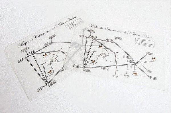 Mapa para casamento 9 x 14 cm, papel vegetal