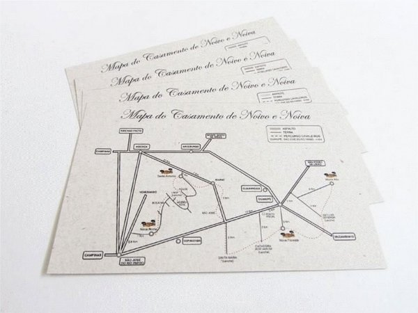 Mapa para casamento padrão 13 x20 cm, papel reciclado industrializado