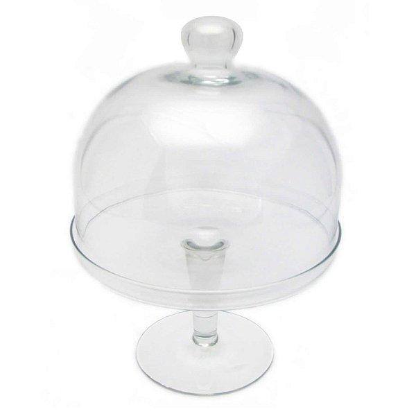 Boleira vidro liso com cúpula