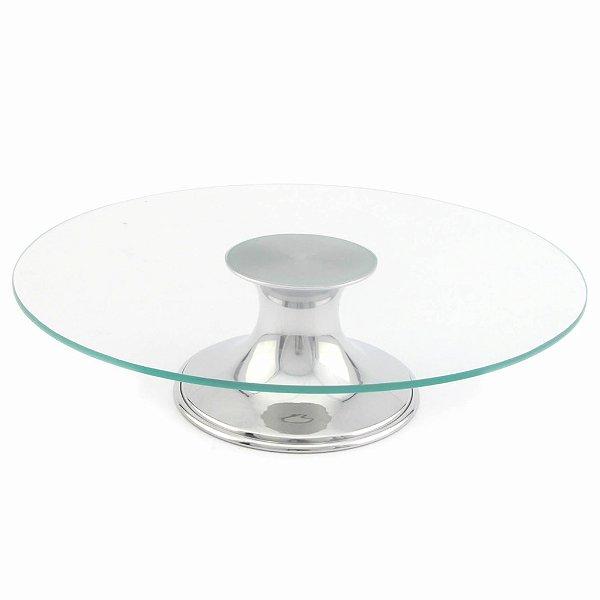 Boleira de vidro com pé metálico prateado