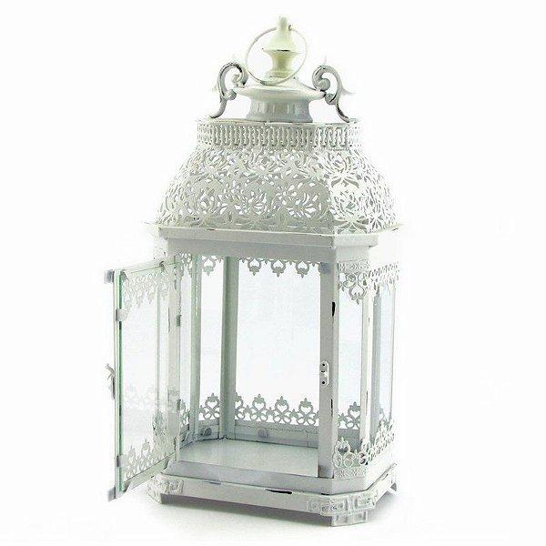 Lanterna rendada com vidro