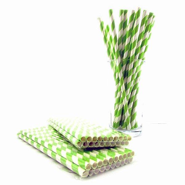 Canudos de papel - listra grossa verde
