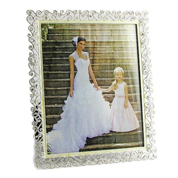 Porta retrato casamento - Metálico rendado luxo