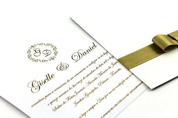 Convite casamento Ice Gold com fita cetim dourada