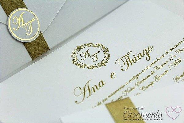 Convite Clássico Monograma (Marfim)
