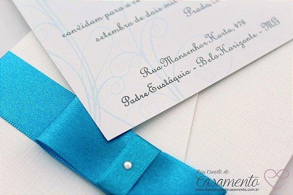 Convite Clássico Azul (Pérola)