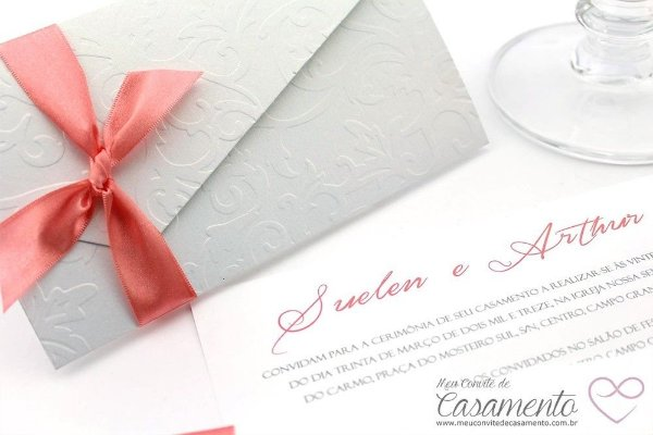 Convite Luxo Cetim e Arabescos (Pérola)
