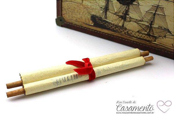 Convite Pergaminho Madeira Veludo - Grande (Pergaminho)